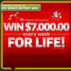 pch com $ 5,000 A Week For Life Sweepstakes