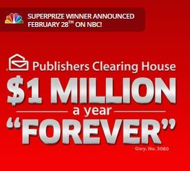 Million A Year For Life PCH.com   $1 Million A Year For Life SuperPrize