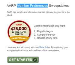 AARP Sweepstakes AARP $25,000 Survey Sweepstakes