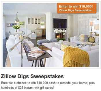 zillow digs www.zillow.com/digs   The Zillow Digs Instant Win and Sweepstakes