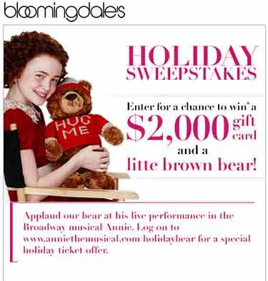 Bloomingdale's Holiday Sweepstakes