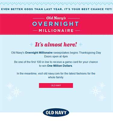 Old Navy Black Friday Win $1Million Dollar