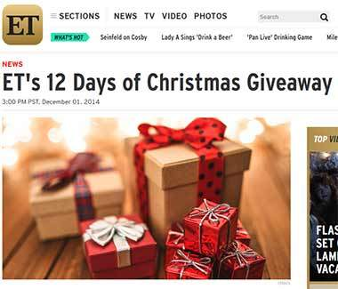 www.etonline.com/giveaways - 12 Days of Christmas Sweepstakes.