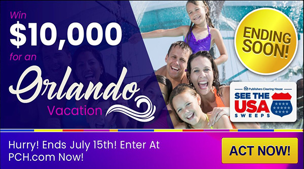 Last Day to Enter PCH $10000 vacation