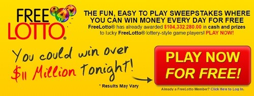 Win a Million Dollars with FreeLotto.com