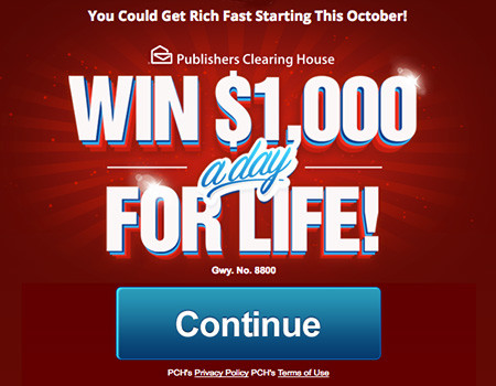 PCH Sweepstakes $1000 a Day for Life