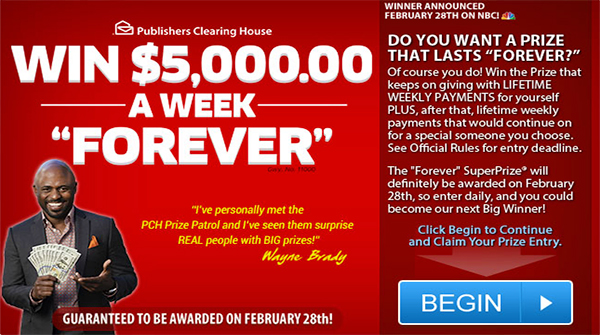 Win $5000 a Week Forever PCH Sweepstakes