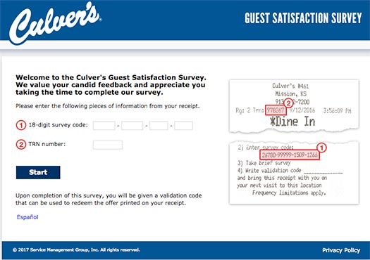Culver's Survey Sweepstakes