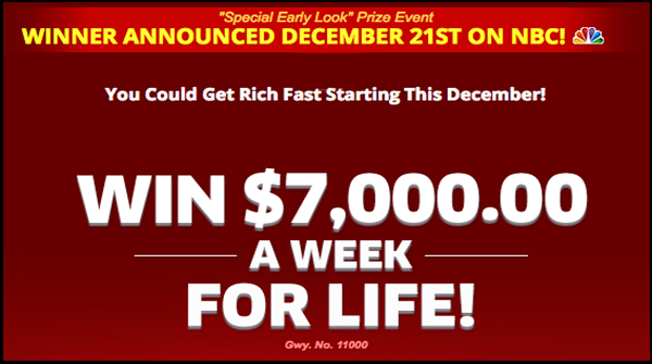 WIn PCH $7,000.00 a Week for Life
