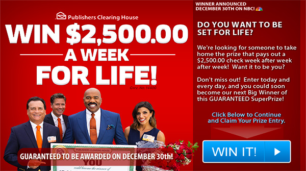 Win $2500 a Week for Life